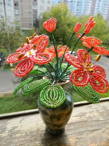 """Подарки в дополнение к цветам / Изделия из бисера (деревья и цветы) / Цветок из бисера  """"Цветок любви """" ."""